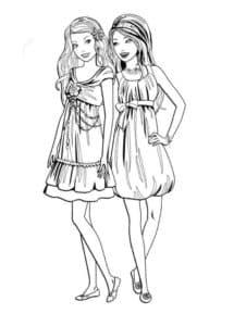 раскраска барби и подружка