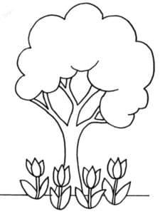 Ландыши и дерево