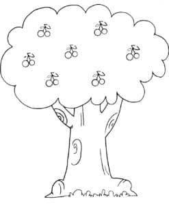 Дерево с вишней раскраска