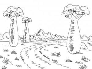 Пустынные деревья раскраска