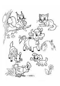 Животные раскраска детская