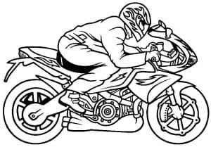 мотоциклист и узоры огня раскраска