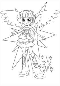 раскраска девочка со звездами