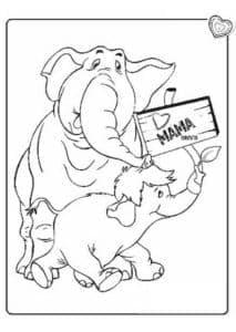 Слоны с табличкой мама