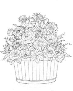цветы в горшке раскраска