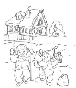 дети гуляют на улице зимой