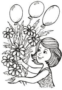 мама с цветами и шариками