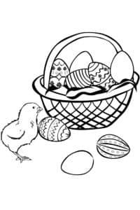 цыпленок и яйца раскраска детская