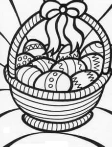 пасхальные яйца в лукошке