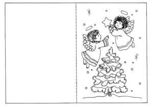 Ангелы и елка открытка