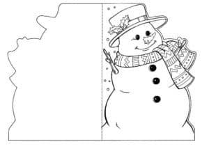 Открытка с снеговиком