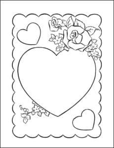 открытка раскраска с сердечками