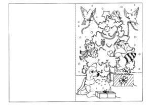 звери и елка раскраска открытка