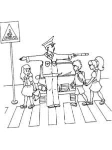 Дети и регулировщик движения