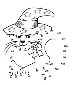 раскраска по точкам кот в шляпе