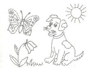 собака и бабочка раскраска по точкам