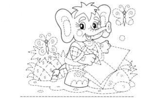 слоник и бабочки раскраска по точкам