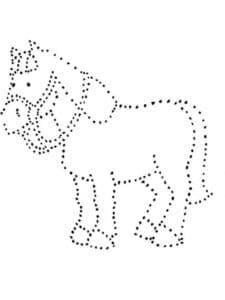 лошадь раскраска по точкам