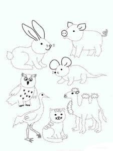 животные раскраска по точкам