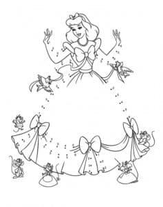 принцесса в платье раскраска по точкам