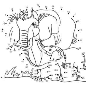 слоны раскраска по точкам для детей