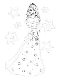 принцесса и звезды раскраска по точкам