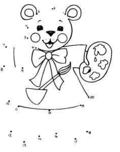 медвежонок художник раскраска по точкам