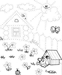 дом и забор раскраска по точкам