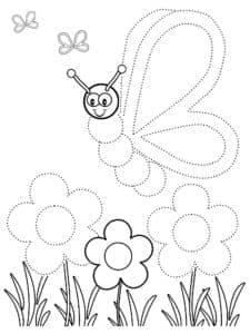 бабочка над цветами раскраска по точкам