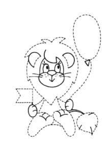 львенок с воздушным шаром раскраска по точкам