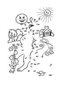 кот и природа раскраска по точкам