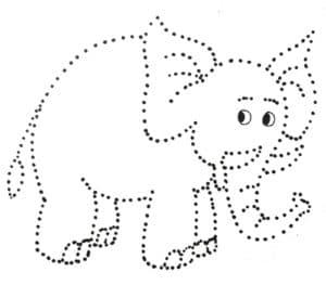 слон раскраска по точкам