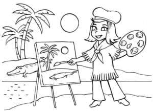 художница на пляже