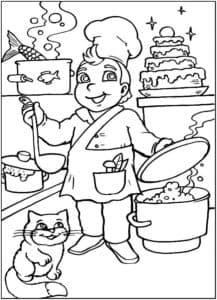 повар с котом
