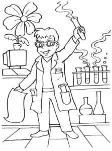 ученый с пробирками