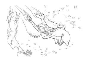 русалка и дельфин раскраска