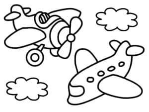 Два самолета и облака
