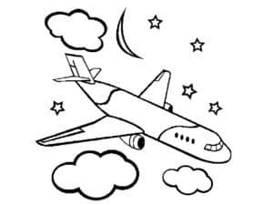 Самолет и звезды с луной