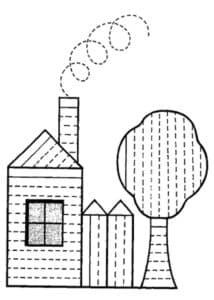 дом и дерево раскраска штриховка