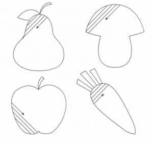 овощи и фрукты раскраска штриховка