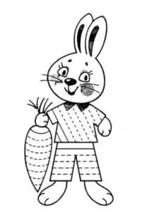 заяц с морковкой раскраска штриховка