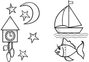 звезды луна и часы раскраска штриховка