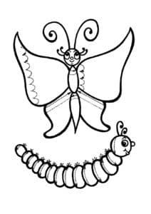 бабочка и гусеница раскраска штриховка
