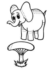 слон и гриб раскраска штриховка