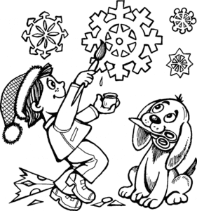 мальчик собачка и снежинки
