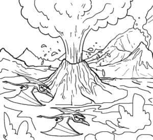 Раскраска взрыв вулкана