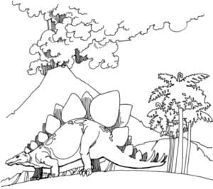 Вулкан и динозавр