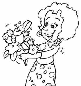 женщина с большим букетом цветов