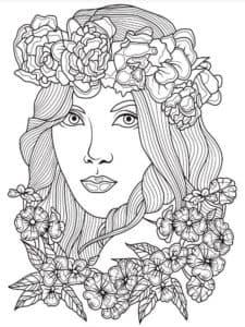 девушка с цветами антистресс