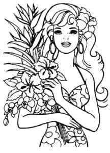 женщина с цветами раскраска детская